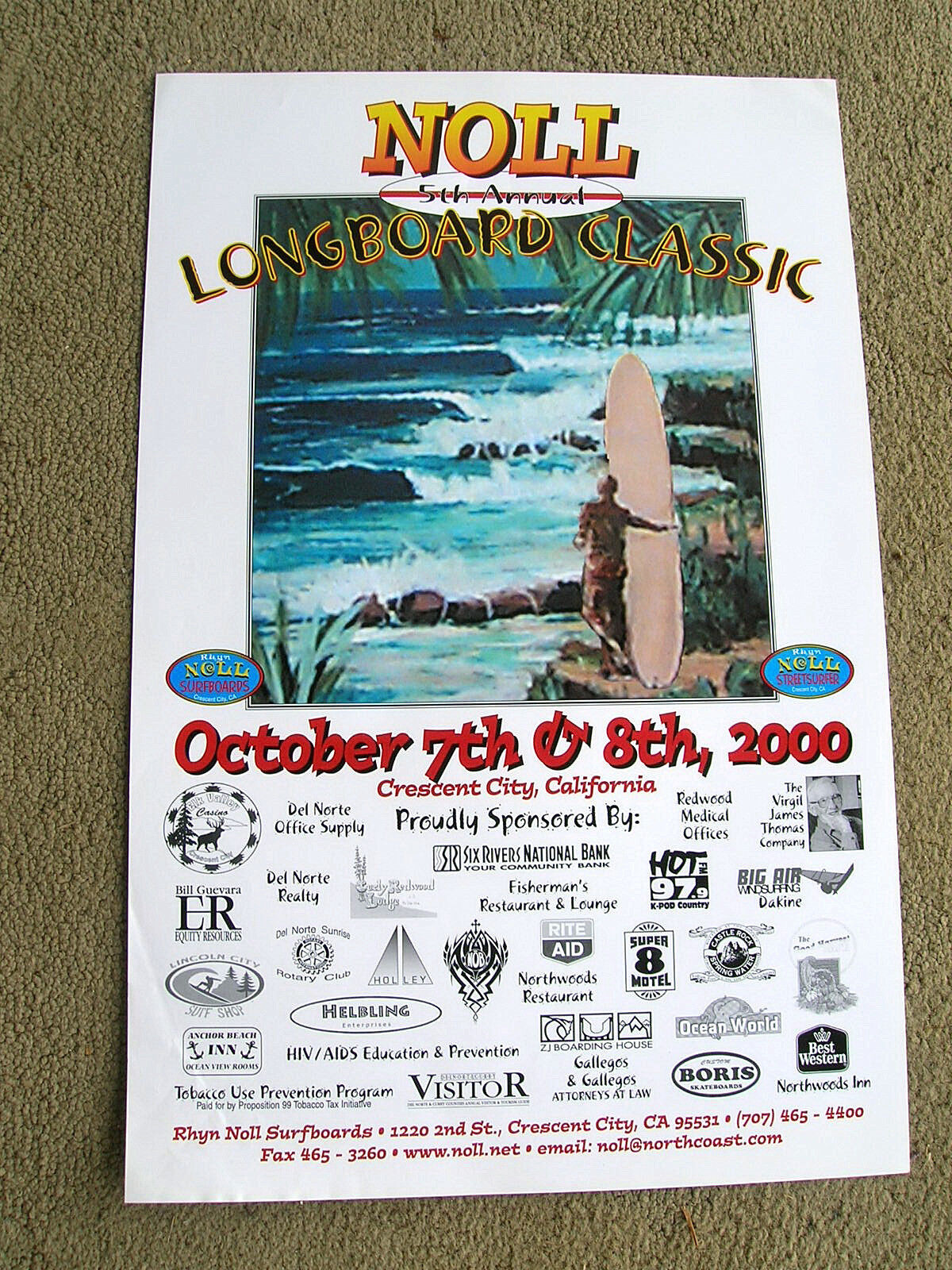 Vintage greg noll longboard surfing surfboard contest poster 5th annual rare