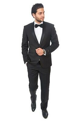 Slim Fit Men Shawl Lapel Tuxedo Black 1 Button Flat Front Pants Slim Style Suit