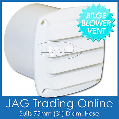 "BILGE BLOWER LOUVRE VENT 75MM (3"") TAIL END EXHAUST OUTLET WHITE - Caravan/Boat"