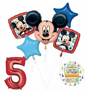 NEW-Mickey-Mouse-5th-Birthday-Party-Supplies-Balloon-Bouquet-Decorations