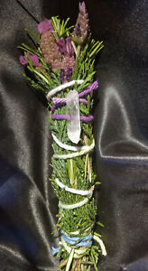 Lavender-amp-Rosemary-Crystal-Smudge-Stick-4-5-034-Handmade-Magical-Blessed-Reiki