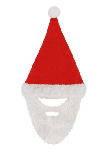 Fancy Dress santa hat with beard Xmas Christmas W57082
