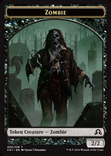 English x4 Zombie Token MTG Shadows over Innistrad T M//NM