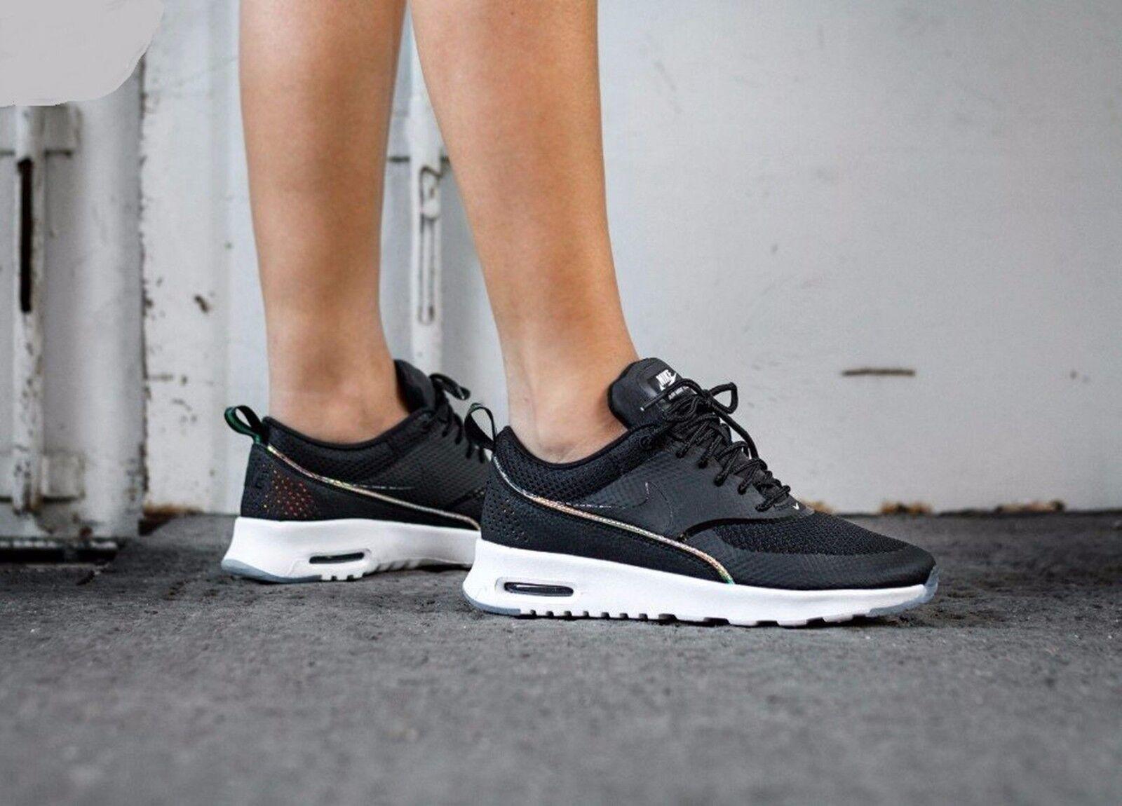 Nike Air Max Thea PRM Premium Black Black-bluee Tint 616723-014 Wmn Sz 8