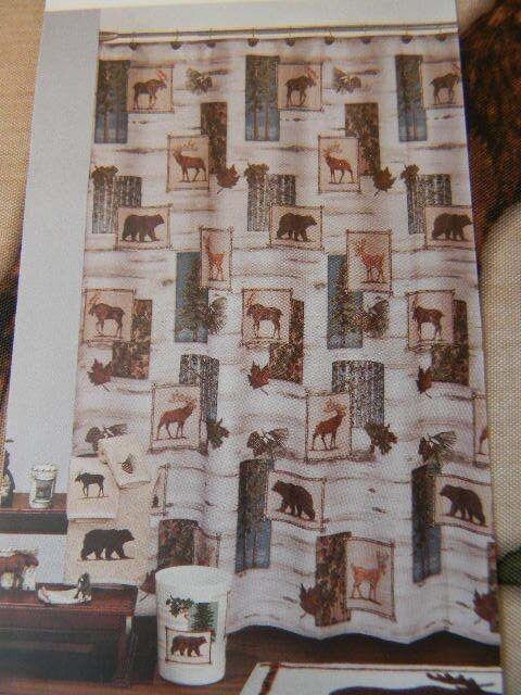 Fabric Shower Curtain Bears Moose Buck Lodge Cabin In Woods Tan Timber Ridge