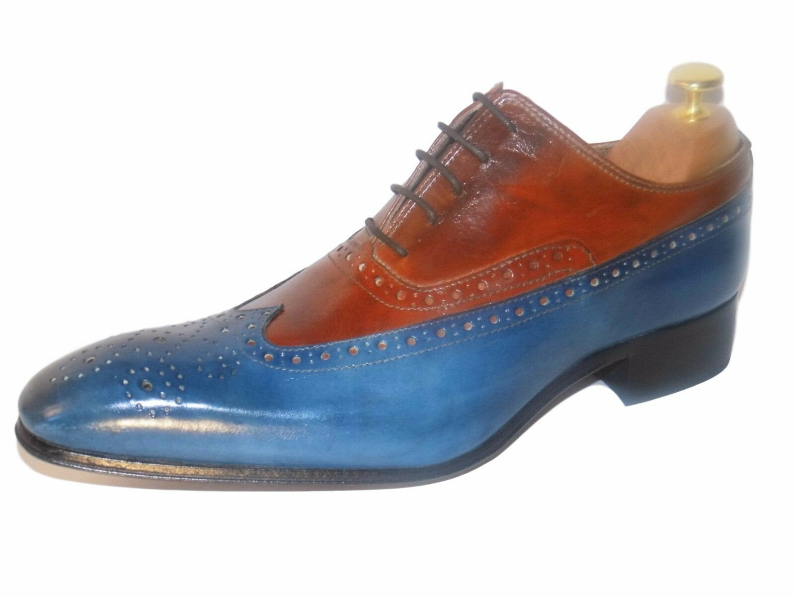 CHAUSSURE ITALIENNE LUXE HOMME CUIR NEUF BI-COLOR brown ET blue COUSU MAIN