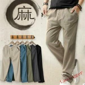 Mens-Summer-Linen-Cotton-Casual-Pants-Solid-Fitness-Sweatpants-Straight-Trousers