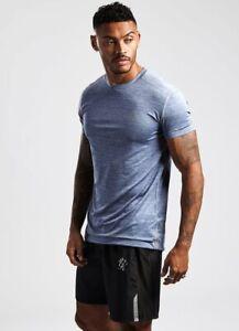 Gym-King-Mens-New-Short-Sleeve-Crew-Neck-T-Shirt-Sport-Grindle-Tee-Blue-Marl