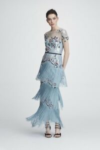 593e202d NWT Marchesa Notte Light Blue Short Sleeve Fringe Evening Gown | eBay