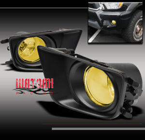 12-15 TOYOTA TACOMA PICKUP BUMPER DRIVING YELLOW FOG LIGHTS+COVER+HARNESS+SWITCH