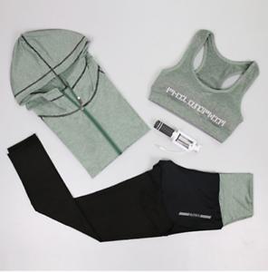 Women sport suit set gym fitness running sportswear elastic workout clothes