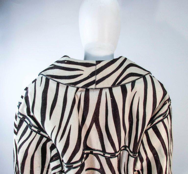 AMEN WARDY Zebra Pattern Cowhide Coat Size 4-8 - image 11