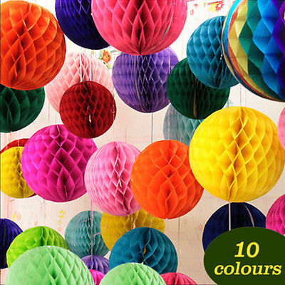 10 Colors HONEYCOMB BALLS WEDDING PARTY PAPER Xmas DECORATIONS FO