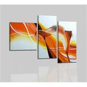 Quadri moderni dipinti a mano su tela arancione fiori for Quadri moderni fiori dipinti a mano