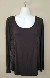 Cable-And-Gauge-Womens-M-Blue-Long-Sleeve-Crochet-Top
