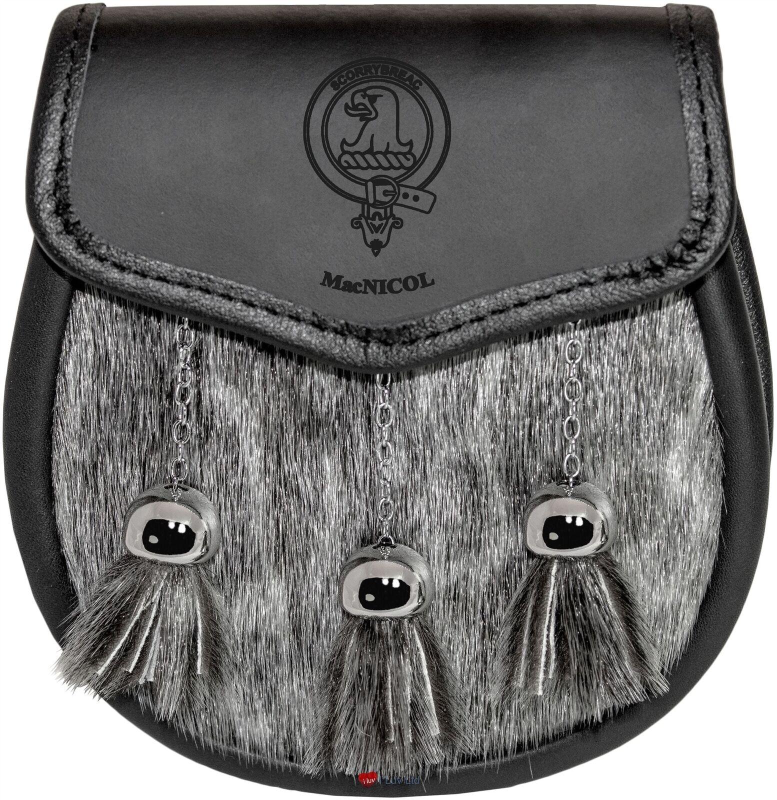 MacNicol Semi Dress Sporran Fur Plain Leather Flap Scottish Clan Crest