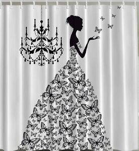 Butterflies Madam Woman Ball Gown Fabric SHOWER CURTAIN