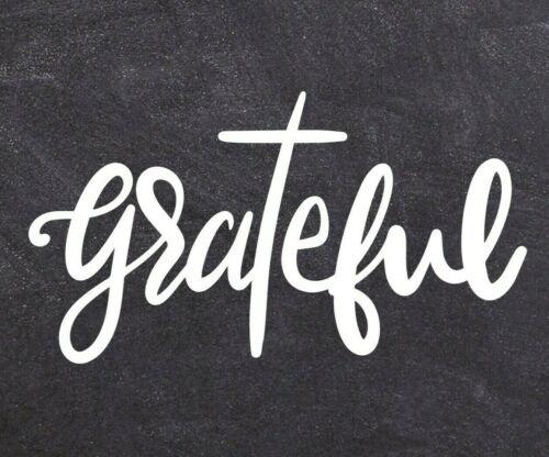 Grateful Decal Christian Cross Religious Sticker Thankful Blessed Faith Vinyl