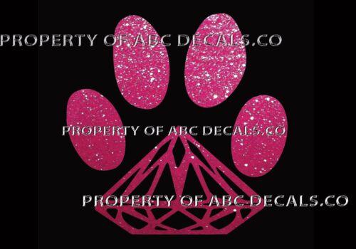 VRS DOG Diamond Paw Print Puppy Doggy Rescue Adoption CAR DECAL METAL STICKER