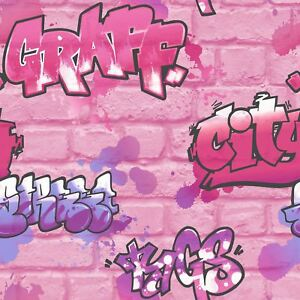 Details About Girls Pink Graffiti Wallpaper Glitter Spray Paint Embossed Childrens Room Urban