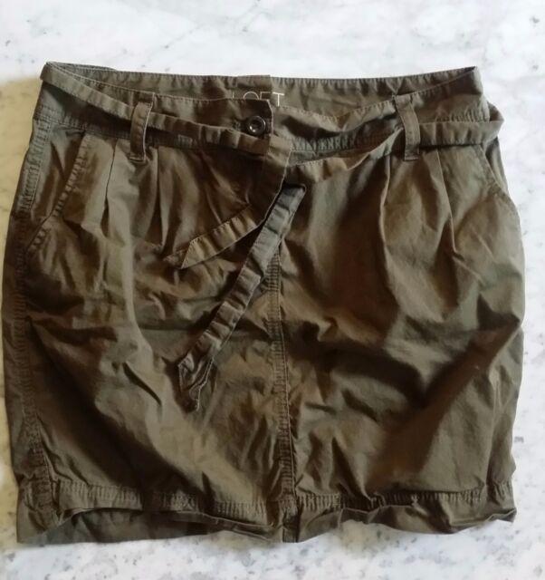 Free S&H !  LOFT Women's 100% Cotton Green Pleated Skirt US Size 8P