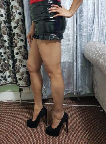 Black PVC Mini Skirt Women/'s Ladies Shiny Vinyl Look High Waist Micro Short  046