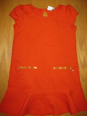 GYMBOREE Right Meow Dress Orange Short Sleeve Ruffle Zipper Pockets Sz 4 6 7 NEW