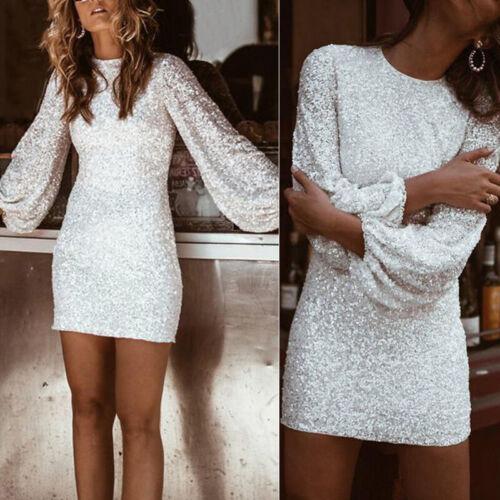 Damen Kleid Damen Langärmeliges Kleid Mode Abend pailletten Stift Nachtclub
