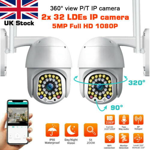 2x 2//5MP Wireless 1080P WIFI IP CCTV Camera PTZ Outdoor HD Home Security IR Cam