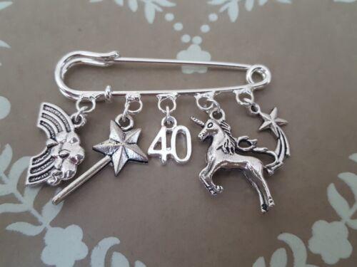 Unicornio Plata Pin Broche .10TH 12TH 13TH 16TH 18TH 21ST 30TH 40TH Cumpleaños Regalo