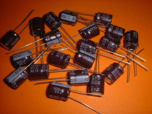 20x Elko 100µF 63V 105°C 10x12mm 100uF