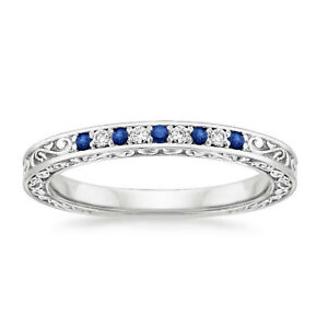 0-26-Ct-Natural-Diamond-Natural-Blue-Sapphire-Band-Sterling-Silver-Size-K-5454N