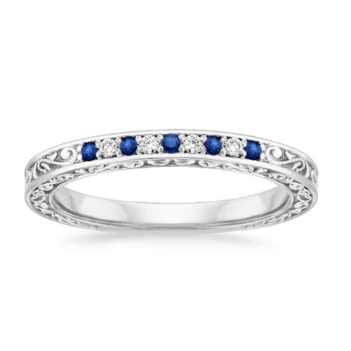 0.26 Ct Natural Diamond Natural Blue Sapphire Band Sterling Silver Size N M H J