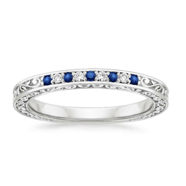 0.26 Ct Natural Diamond Natural Blue Sapphire Band Sterling Silver Size K 5454N