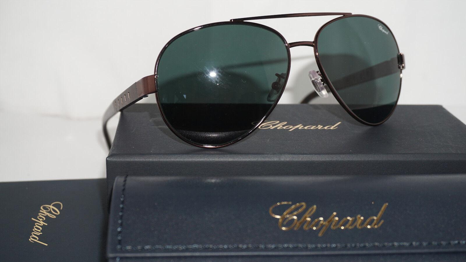 Chopard Sunglasses New Aviator Gunmetal Green Polarized SCHB12 K01P 60 14 135