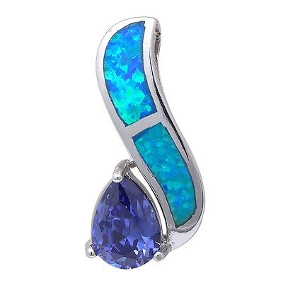 Blue Opal & Tanzanite .925 Sterling Silver Pendant