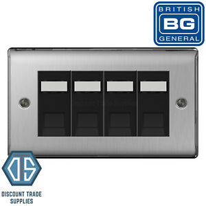 BG Screwless Black Nickel 4 Gang RJ45 Cat6 Data Socket Outlet Black Flatplate