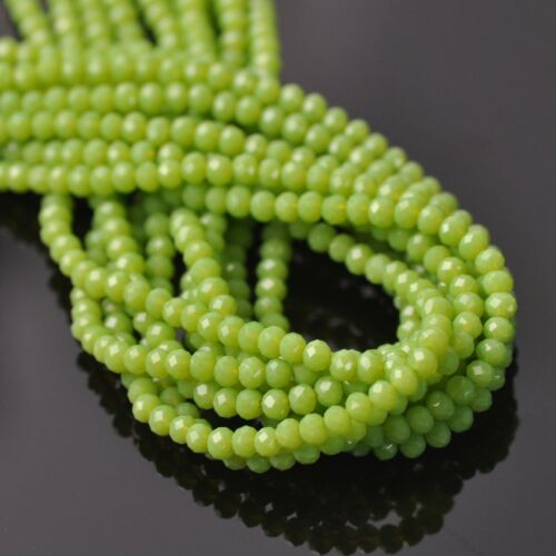500pcs 3x2mm Small Rondelle Faceted Opaque Crystal Glass Loose Spacer Beads