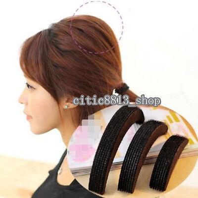 1Set 3Pcs Hair Increase Puff Styling Tool Bump Plastic Pad Insert Wedding Black