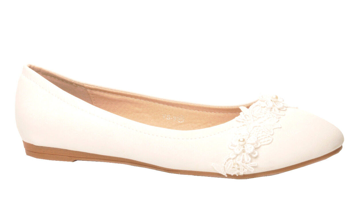Off White Lace Flower Flat Wedding Bridal Pumps Ballerina (small + big sizes)