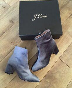 0a7cd1faaf3 JCrew  228 Hadley Velvet Ankle Boots 8.5 Zinc Gray Shoes H3195 NEW ...