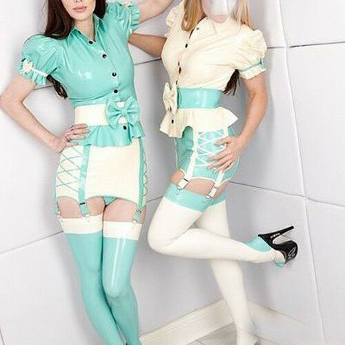 Latex Rubber Cute Fashion Light bluee and White Dress Sexy Skirt 0.4mm Size S-XXL