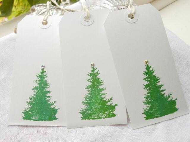 10 Handmade  Christmas Fir Tree Gift Tags  White Tags Spruce Tree