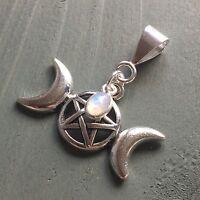 Rainbow Moonstone & Tibetan silver Triple Moon pentagram Pendant Wicca Pagan