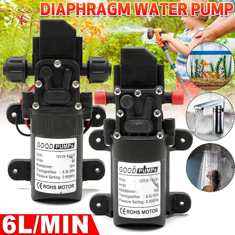 12V Water Pump High Pressure Diaphragm Self Priming 130PSI 6L/Min RV Caravan 72W