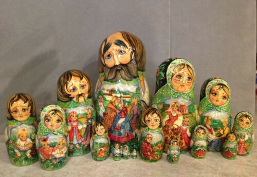 "VINTAGE RUSSIAN NESTING DOLL FEDOSKINO STYLE ""THE VILLAGE SUMMER ""15PC 11.5""SIGN"
