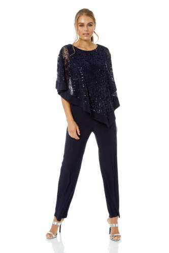 Roman Originals Women Sequin Overlay Jumpsuit Ladies Luxury Playsuit