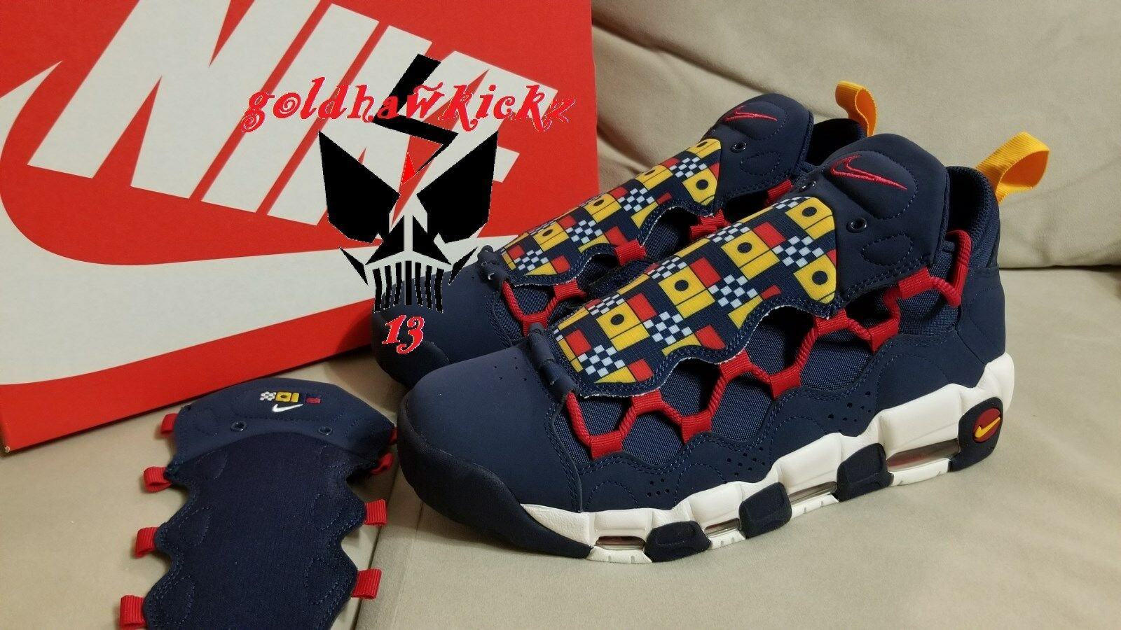 Nike Air More Money Uptempo AR5306 400 Nautical Redux Navy bluee Red Yellow qs