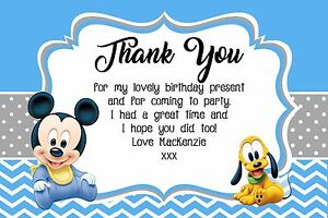 Personalised Baby Mickey Mouse Birthday Party Thank You Cards