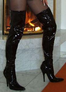 EXTREME PLATEAU HIGH Heels Crotch Overknee Stiefel Lack 42